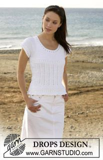 "free knitting pattern - DROPS top with lace pattern in ""Muskat"". ~ DROPS Design, size 6 needle 