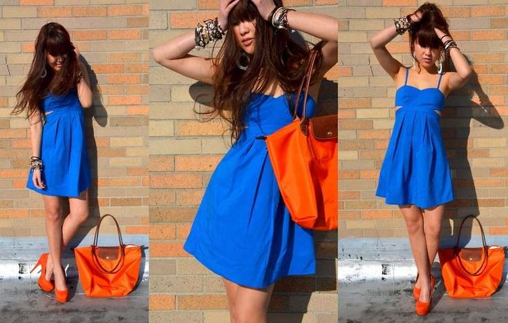 Trucco per vestito blu e scarpe