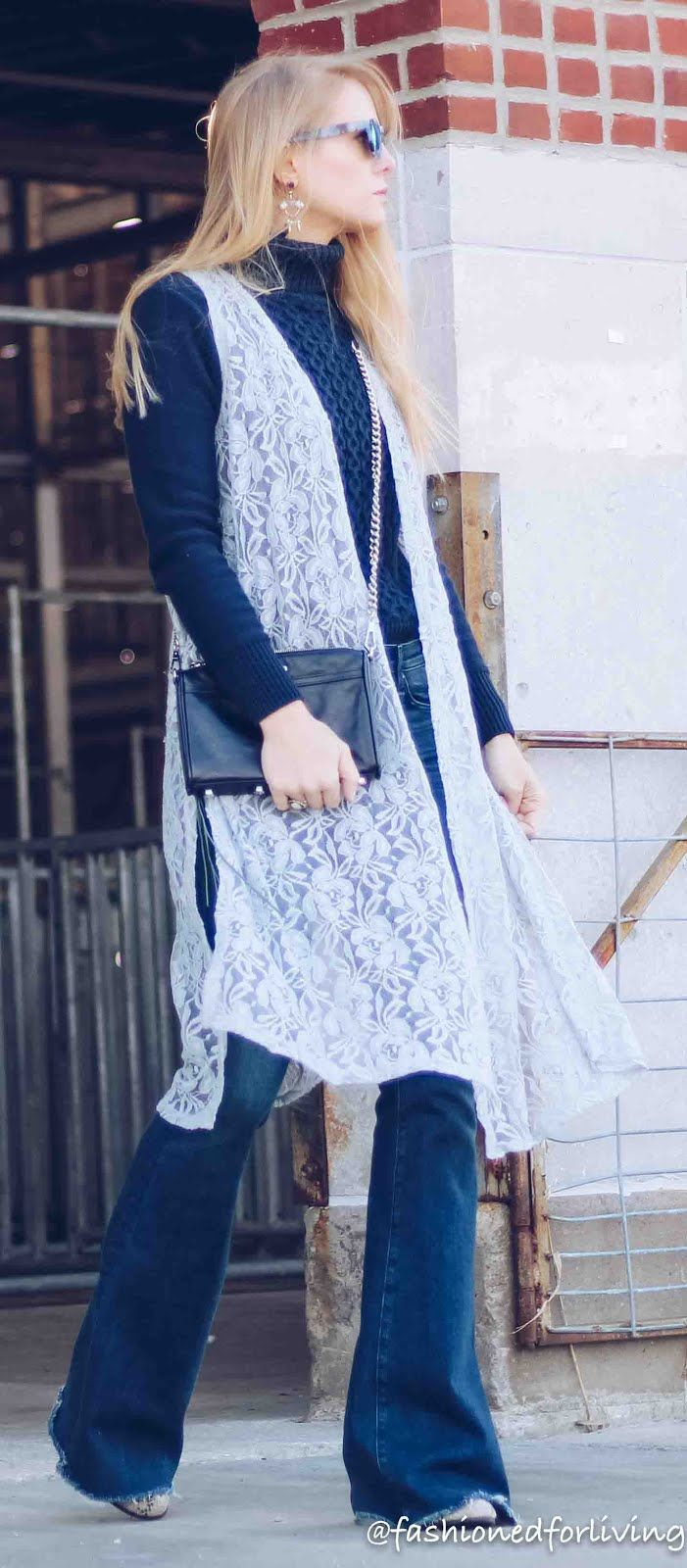 flare jeans outfit with lace vest and navy turtleneck lularoe lace joy outfit