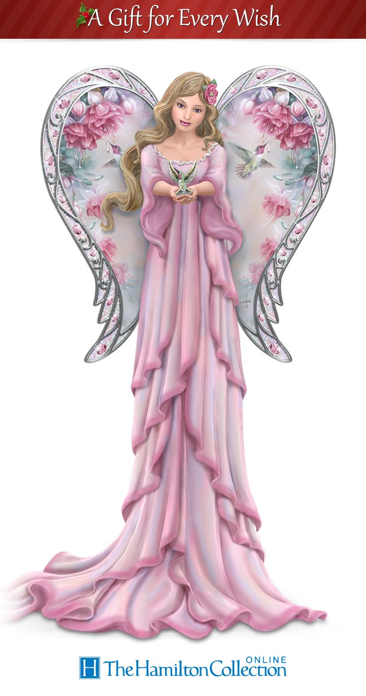 This first-ever heavenly angel figurine collection is sure to set your heart aflutter with its exquisite floral and hummingbird art of renowned artist Lena Liu.