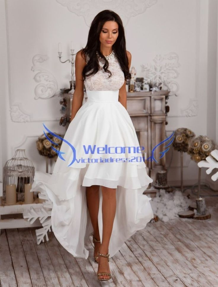 satin high low wedding dress short summer bridal gown beach size custom 2 4 6