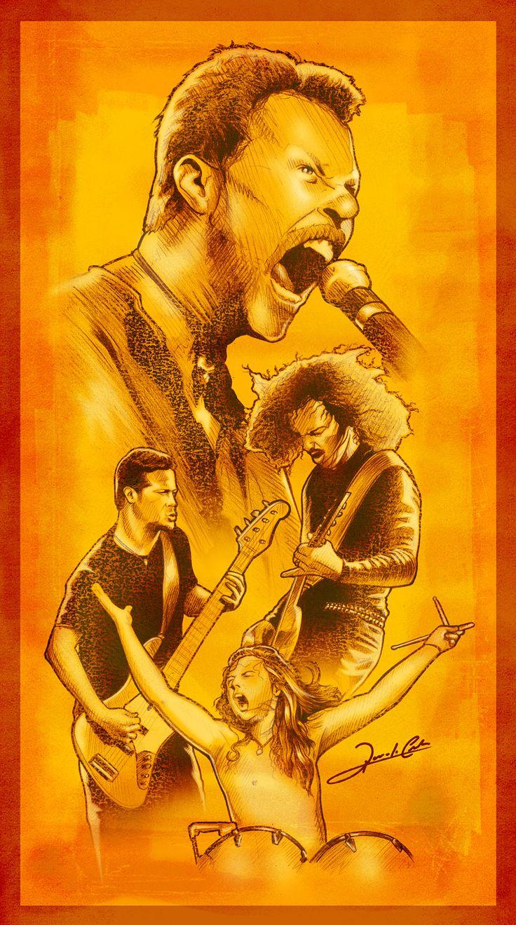 Ilustração da formação clássica (ea minha preferida!!) da banda de heavy metal norte-americana Metallica: James Hetfield, Kirk Hemmett, Jason Newsted e Lars Ulrich. Dentre seus grandes sucessos, u…