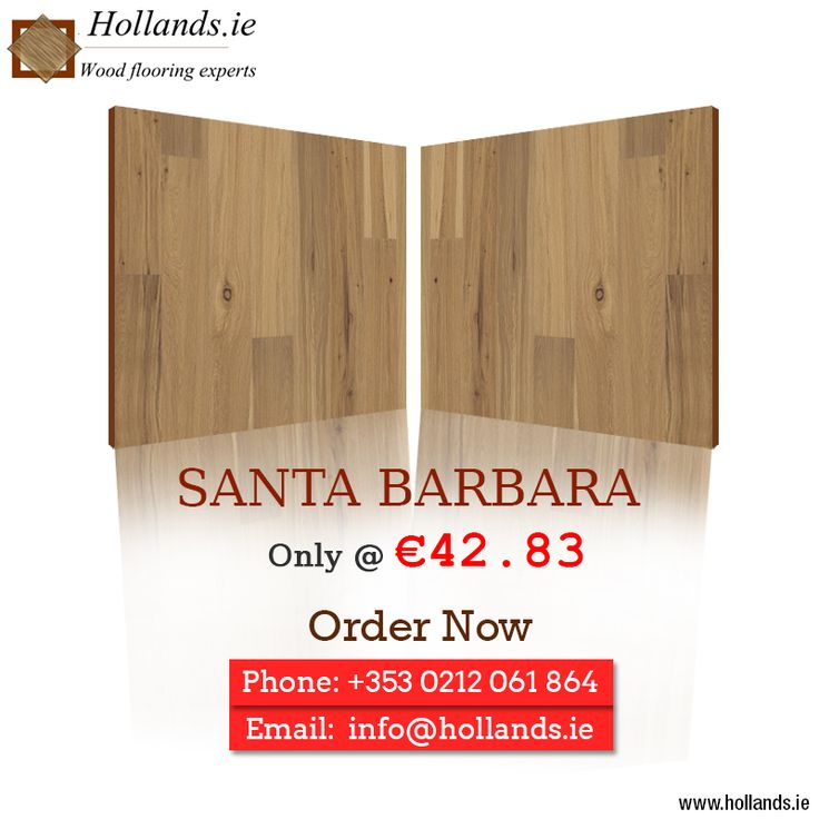 Give your home a new avatar with Hollands.ie #SantaBarbara #WoodenFloor tiles, available at just € 42.83. Order today: http://hollands.ie/santa-barbara  #Architecture #Interiordesign #Flooring #Woodflooring