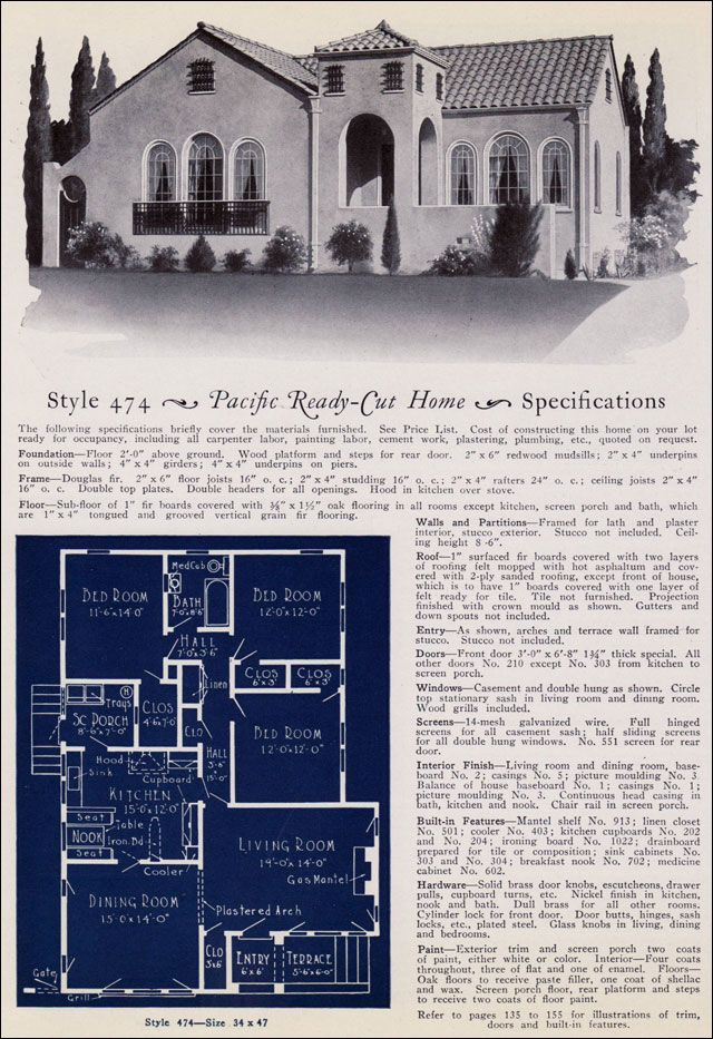 1925 Pacific Ready Cut No 474 Floor Plans Pinterest
