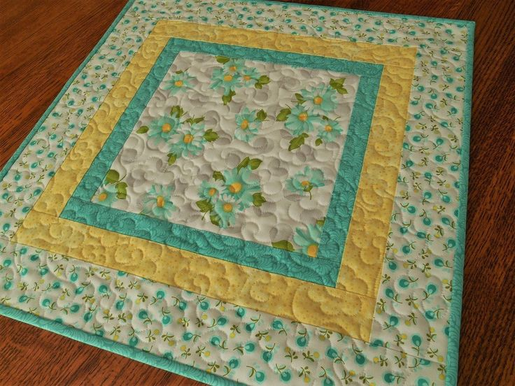 Quilted Table Topper With Aqua Daisies, Small Square Table Topper, Nursery  Decor, Summer