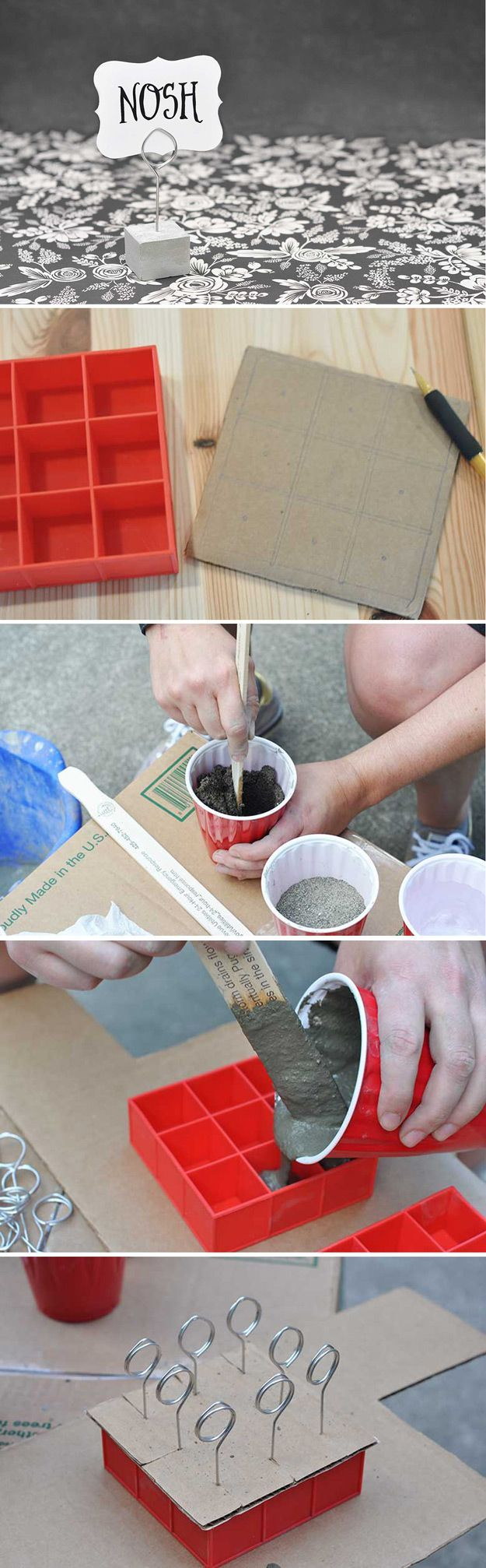Cute Homemade Craft Projects with Ice Cube Trays | Cement and Wire Stands by DIY…