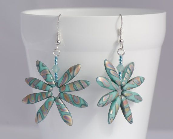 Turquoise Peacock Daisy Earrings Colourful Rainbow Earrings