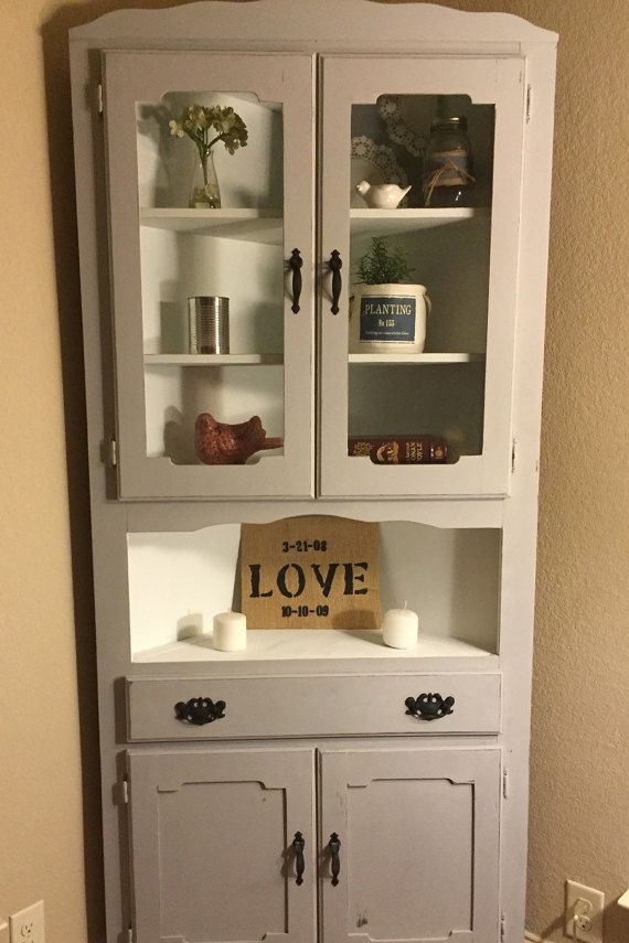 (Sold)1970s vintage corner China cabinet refinished with Annie Sloan Paris  grey chalk paint and white on the inside. Original ha… - Sold)1970s Vintage Corner China Cabinet Refinished With Annie Sloan