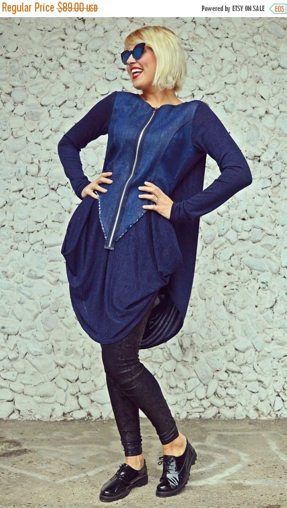 Extravagant navy tunic made of acrylic and denim. A very soft, loose, comfortable and playful tunic, very easy and fun to wear. Material: 100% denim + 100% acrylic Care instructions: Wash at 30 degrees. The model in the picture is size S.  Can be made in ALL SIZES.  If you have any other specific requirements, do not hesitate to contact me!  I DO NOT CHARGE EXTRA MONEY for custom made items.   All you need to do is send me your measurements. Below, you will find a table with size references…