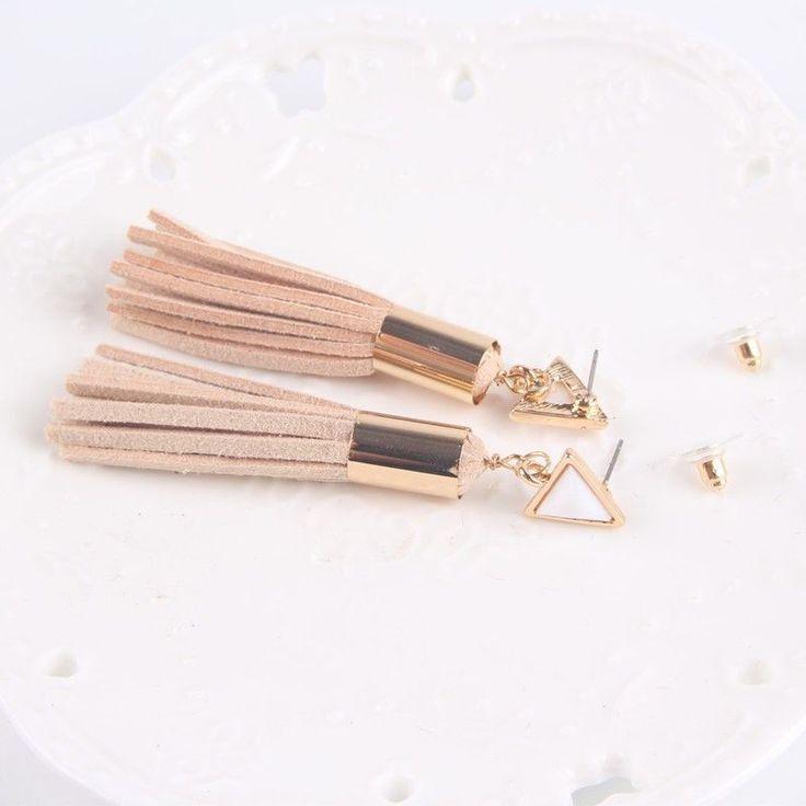 Triangle Tassel Drop Earrings
