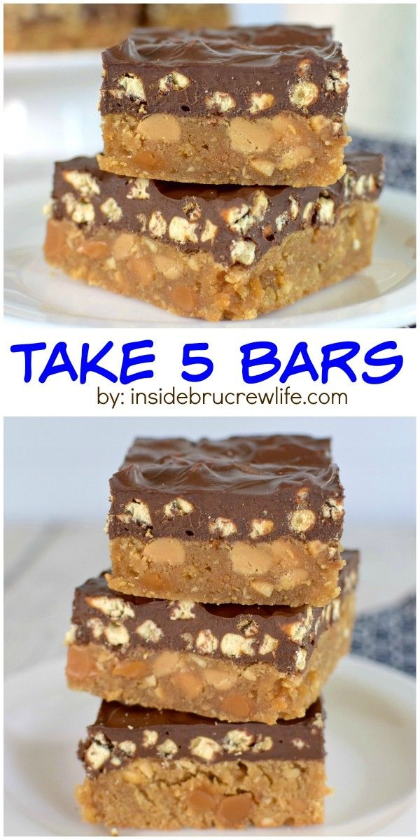 These peanut butter blonde brownies are full of peanut butter, pretzels, and caramel.  They have all the taste of a Take 5 candy bar!