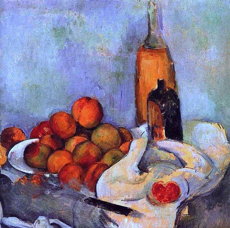 Paul Cezanne -Bouteilles et pêches (1890)