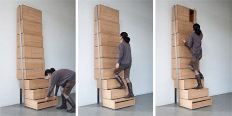 Staircase Shelving staircase-shelving-unit-by-danny-kuo | tiny spaces - pratical