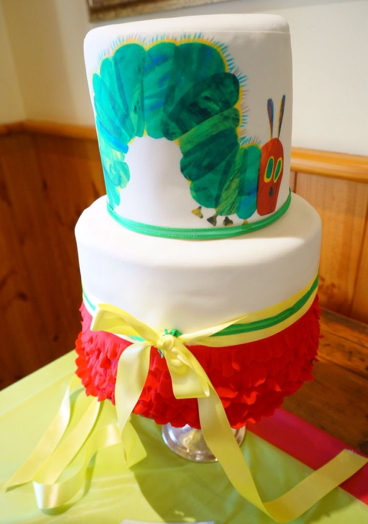 The Very Hungry Caterpillar Cake. 2 Tier. Rainbow inside. @shanschlotts