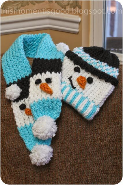 LOOM KNIT:  SNOWMAN SCARF SET. Pattern included.   thismomentisgood.blogspot.com. #loomknitting #scarf #knits #hat
