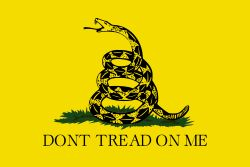 "The Gadsden Flag: icting a rattlesnake coiled and ready to strike. Positioned below the snake is the legendary ""DONT TREAD ON ME"". The flag was designed by and is named after American general and statesman Christopher Gadsden. It was also used by the Continental Marines as an early motto flag. It was the first flag ever carried into battle by the United States Marine Corps, during the American Revolution."