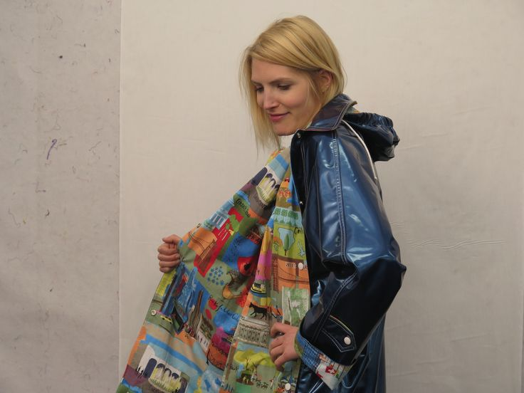 CQ Staffer Karen wears an NYC Boutique Raincoat with Susy's Paris print lining the interior.