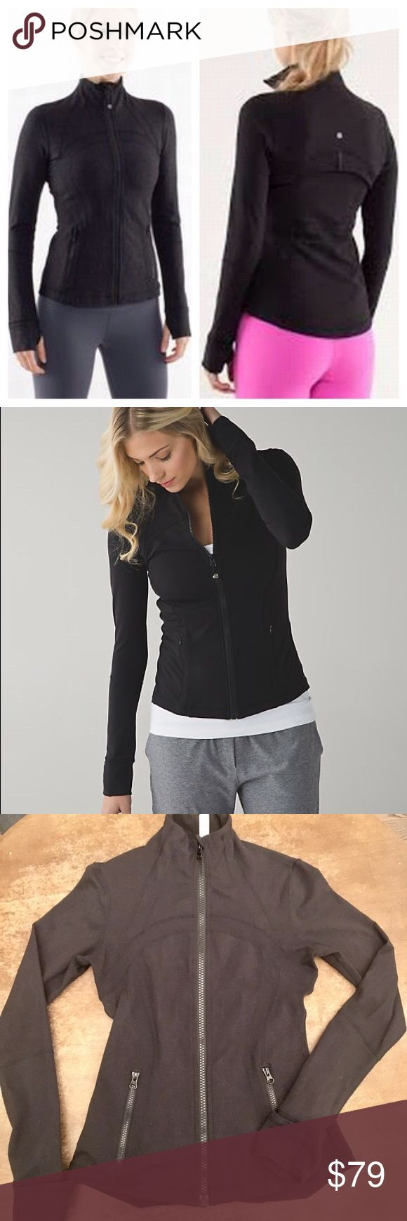 Lululemon Define Jacket Black Signature Define Jacket from Lululemon in black. Fitted jacket with sweat-wicking fabric and built-in ventilation to take you to and from the studio. Added thumbholes and fold-over Cuffins™ finger covers help to keep the chill out. EUC.  On here to declutter, 🚫 trades. If I want something in your closet badly enough, I'll buy it 😍 Reasonable offers always welcome! lululemon athletica Jackets & Coats