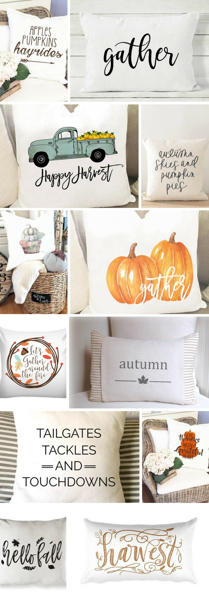 These fall pillows will look perfect in your fixer upper style or pottery barn style home! These are handmade  pillow covers from the best etsy designers. #fall