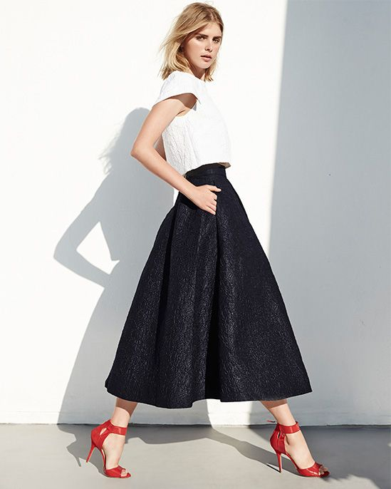 Monique Lhuiller party dressing. Silk sculpted bodice top with pleat-front skirt and the most beautiful rouge Laurel heels! Whats not to love!