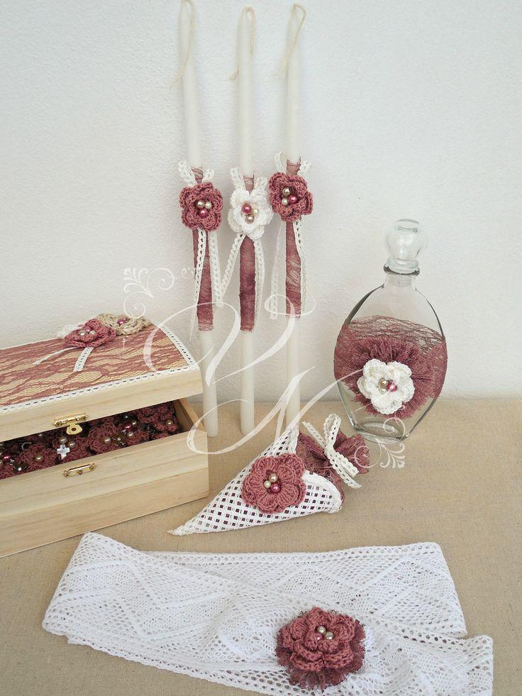 Λαδοσέτ βάπτισης στολισμένο με δαντέλα και χειροποίητα πλεκτά λουλούδια, κορδέλα νονάς - Baptism oil set with lace and handmade chrochet flowers, godmother's ribbon