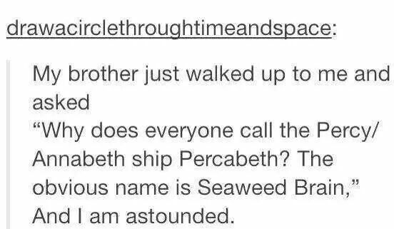 Wow...first smartwater, and now seaweed brain.<------------ but seaweed brain is what annabeth calls Percy. If there ship name was seaweed Brian people would get confused.