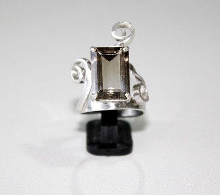 Anel de Prata com Quartzo Fumê Bicolor - Smoky quartz sterling silver ring