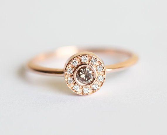 Halo Diamond Wedding Ring Rose Gold Halo Diamond Ring by MinimalVS