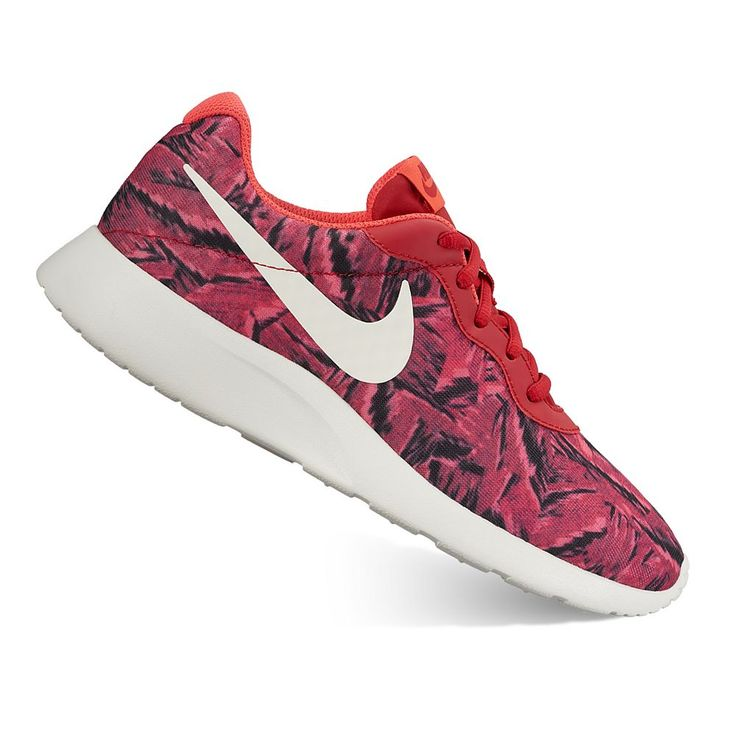 Nike Tanjun Women's Camo Print Athletic Shoes, Size: 6.5, Dark Red