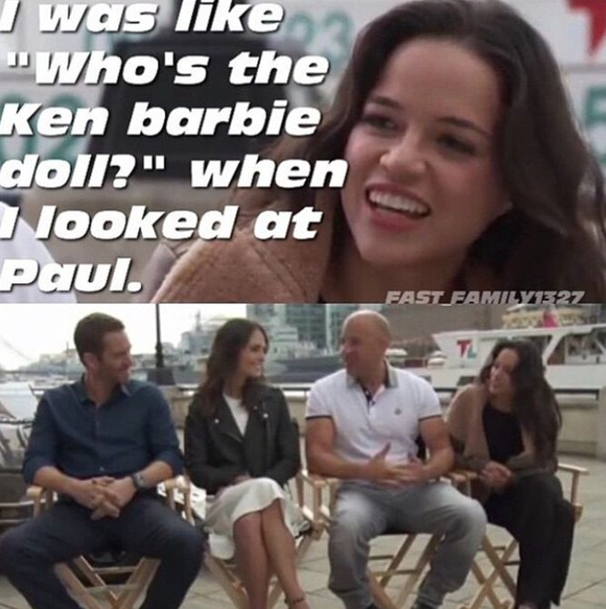 Michelle Rodriguez about Paul Walker during an interview with the cast of Fast and Furious