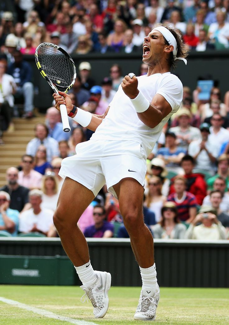 Rafael Nadal of Spain celebrates after winning his Gentlemen's Singles second round match against Lukas Rosol of Czech Republic on day four of the Wimbledon Lawn Tennis Championships at the All England Lawn Tennis and Croquet Club at Wimbledon on June 26, 2014 in London, England. (Photo by Jan Kruger/Getty Images)