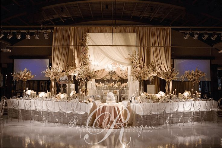 Elaborate Draping And Decor For Wedding Head Table By