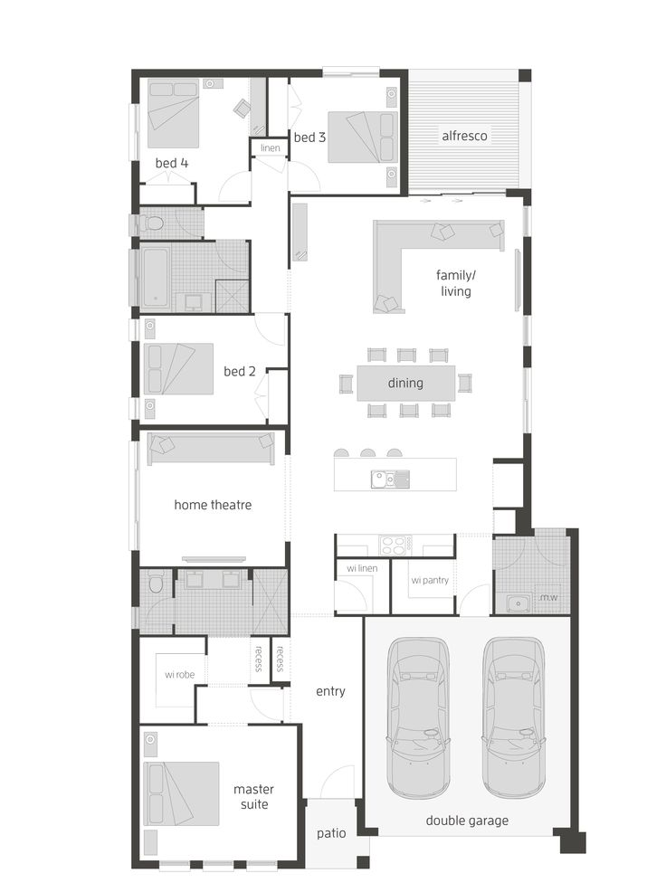 Montego floor plan by McDonald Jones. Exclusive to Queensland. #floorplan, #housedesigns, #mcdonaldjones