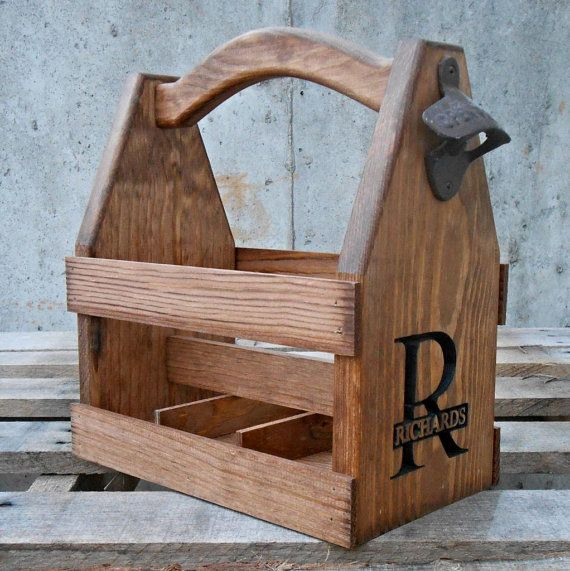 Beer carriers make the ultimate gift for the beer lover or craft brewer in your life. They can be carved with any logo or saying you want on them to create a truly one of a kind unique gift. Wooden Personalized Beer Tote Beer Carrier Six by MVwoodworks, $63.00