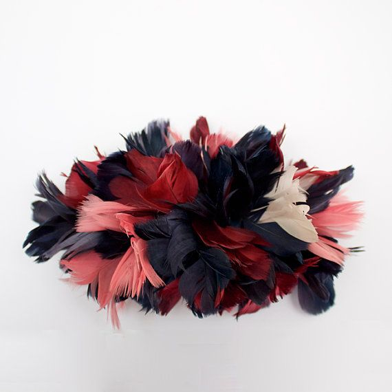 Dark red blue and pink hair comb Fascinator made with by Palomilla