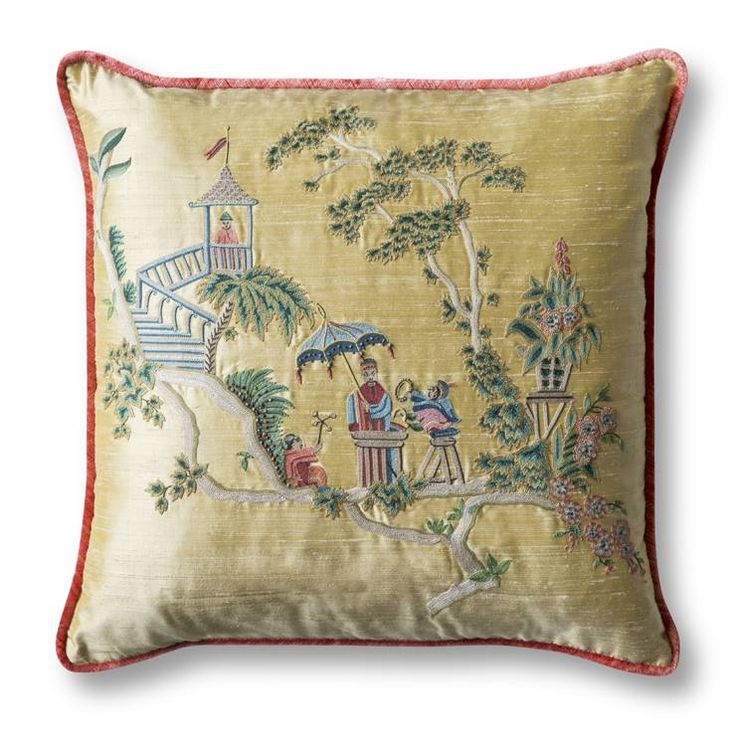 CATHAY CUSHION - Beaumont & Fletcher, hand embroidered cushion in Chinoiserie style, embroidered on a beautiful yellow silk and backed with Como silk velvet in pompeiian red