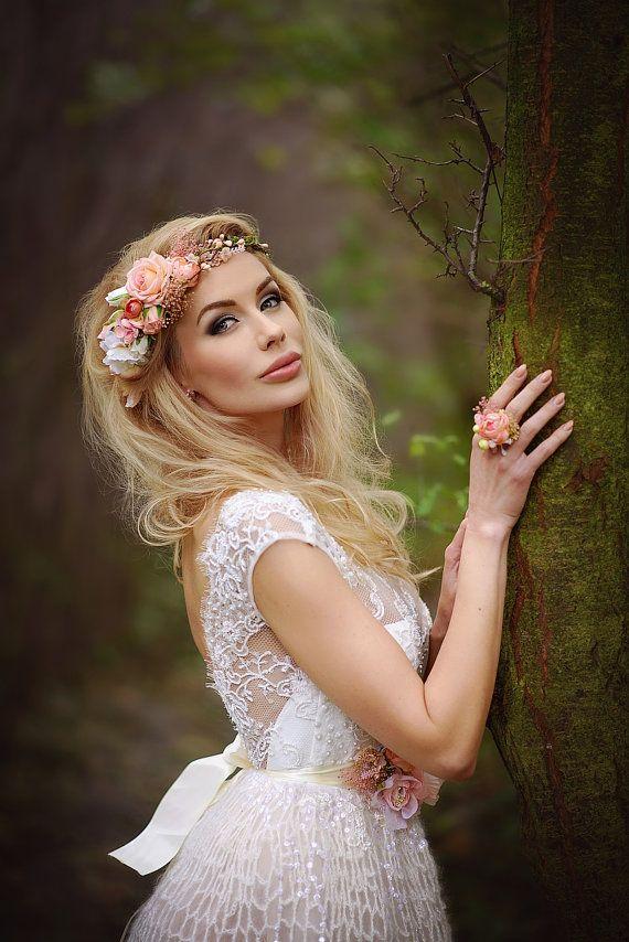 """wreath """"Sunny fairy"""" flower head wreath, floral head wreath, headband, fairy wreath, flower wreath, flower hair crown, wedding wreath"""