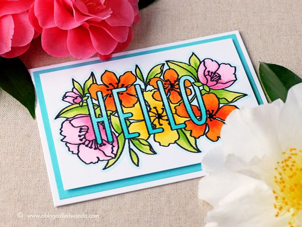 Tropical Hello card. Using Mama Elephant stamps and Copic Markers. Project by Wanda Guess