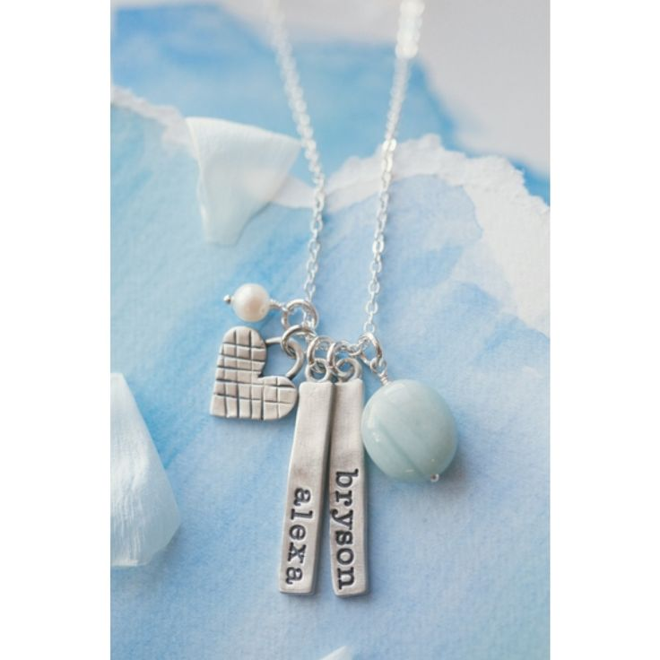 I cross my heart and promise to love you with all that I am. It will not be perfect but we will grow together. This sweet necklace makes a big statement! Add charms with your special names to make it even more unique! Sterling silver heart charm measur