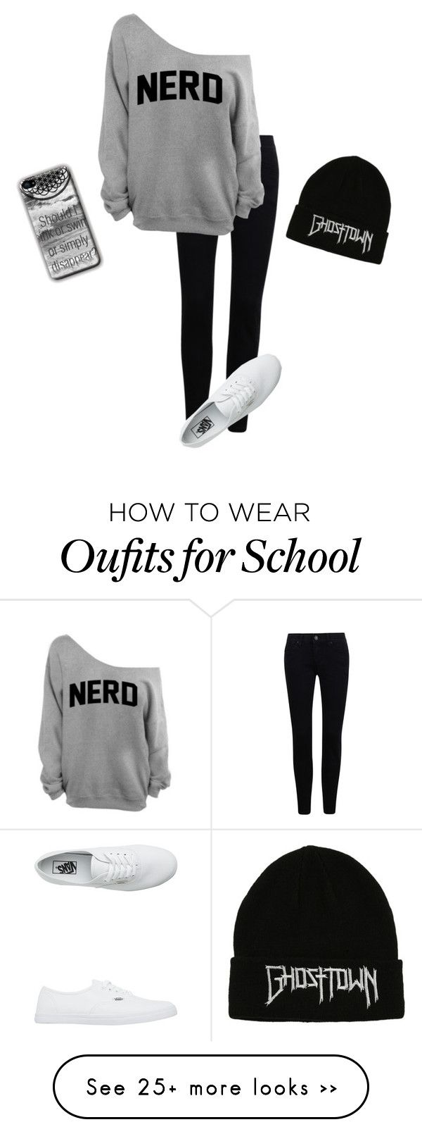 """school /:"" by acf910 on Polyvore featuring Vans, nerd and boring"