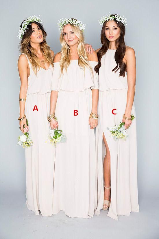 Taffeta Bridesmaid Dresses Elegant White Chiffon Bridesmaid Dress 2016 Off Shoulder Side Slit Boho Style Maid Of The Honor Wedding Gown Summer Beach Evening Event Maix Ugly Bridesmaid Dress From Whiteone, $76.78| Dhgate.Com