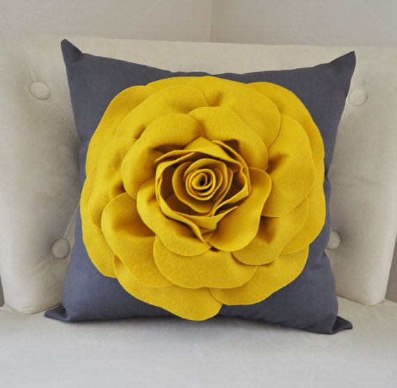 Large Mustard Yellow Rose on Dark Gray Pillow. 14 x 14 (Larger Sizes can be made.) ALL ITEMS ARE MADE TO ORDER PLEASE SEE SHOP FOR CURRENT CREATION TIME!!! For More Color Combinations See Our Shop! Click Here: http://www.etsy.com/shop/bedbuggs This Pillow is Stunning! The Perfect touch