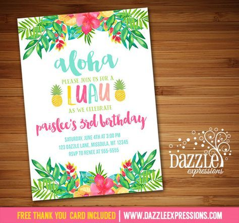 Printable Tropical Floral Luau Birthday Invitation | Watercolor Flowers | Hawaiian Party | Pineapple | Baby Shower | Bridal Shower | Digital File | Girl Birthday Party Idea | FREE thank you card | Party Package Available | Banner | Cupcake Toppers | Favor Tag | Food and Drink Labels | Signs | Candy Bar Wrapper | www.dazzleexpressions.com
