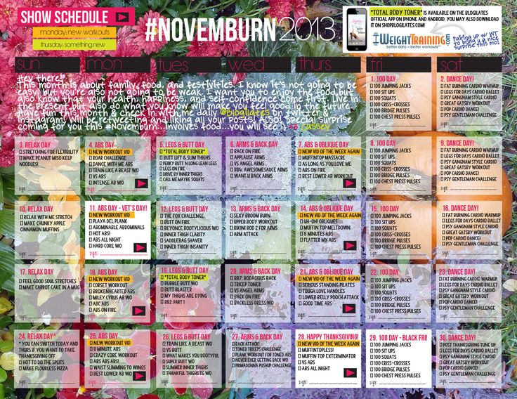 NovemBURN Cassey Ho workout challenge for the month of November!!!  Password Protected