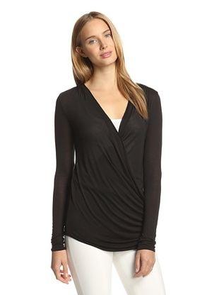 45% OFF Bella Luxx Women's Long Sleeve Wrap Top (Black)