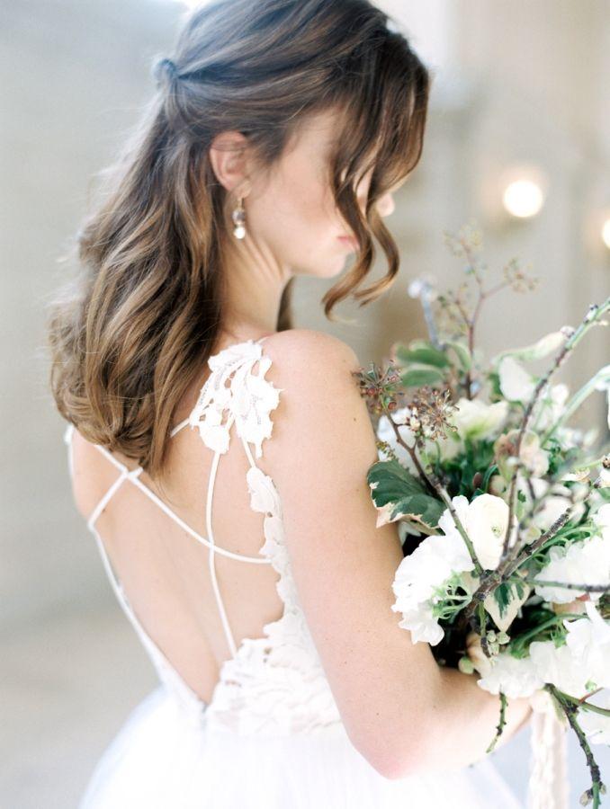 Criss cross back BHLDN wedding dress: http://www.stylemepretty.com/2017/04/06/get-inspired-to-throw-a-wedding-built-for-two/ Photography: Esmeralda Franco - http://esmeraldafranco.com/
