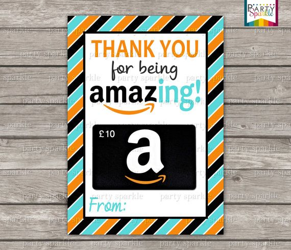 "INSTANT DOWNLOAD - Thank you for being Amazing! - Amazon Gift Card Teacher Appreciation Card Holder - Aqua Orange - 5x7"" jpg Digital File"