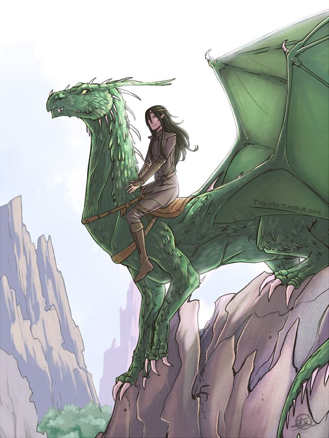 "Arya and Fírnen.  (""First flight"" by Ticcy on DeviantART) looks wonderful, but Fírnen needs to be a little bit larger"