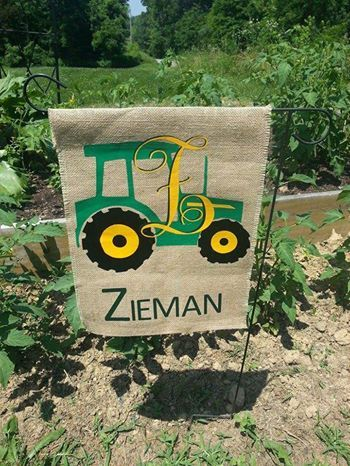 Monogram Burlap Tractor Flagu2013measuring Approximately 12X15 Inches This  Tractor Motif Garden Flag Will Brighten