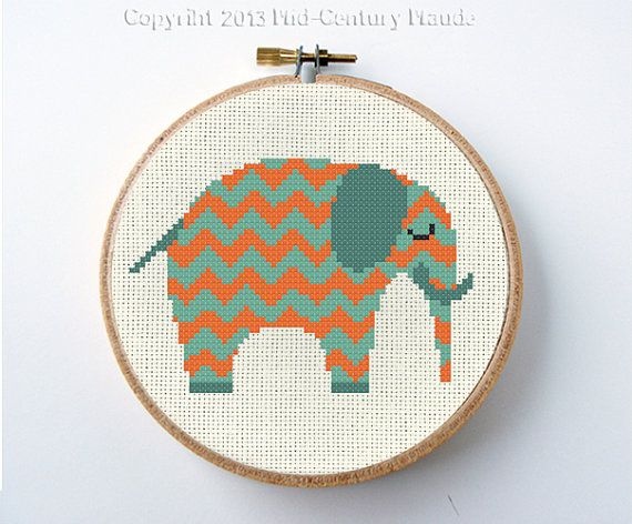 Elephant Chevron Modern Cross Stitch Pattern Instant Download PDF Digital Needlepoint